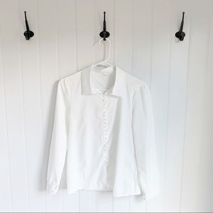White Pearl Detail Button Down Top Size Small